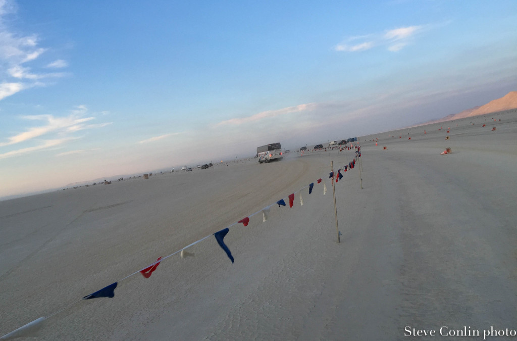 On the playa. Speed limit 10. Headed for the gate.