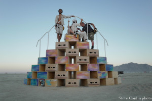 An art installation in the playa. Paul Duane interviewing participants.