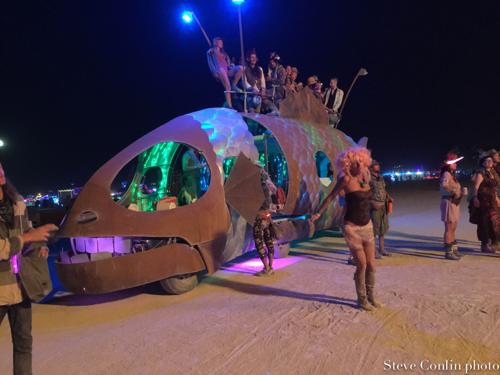 The Pilot Fish. An art car that called our camp home. It was our ride once in a while as well as a beacon for campmates when at an event in the playa.